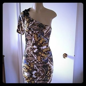 BROWN WHITE GOLD,AND BLUE ONE SLEEVE BODYCOM DRESS